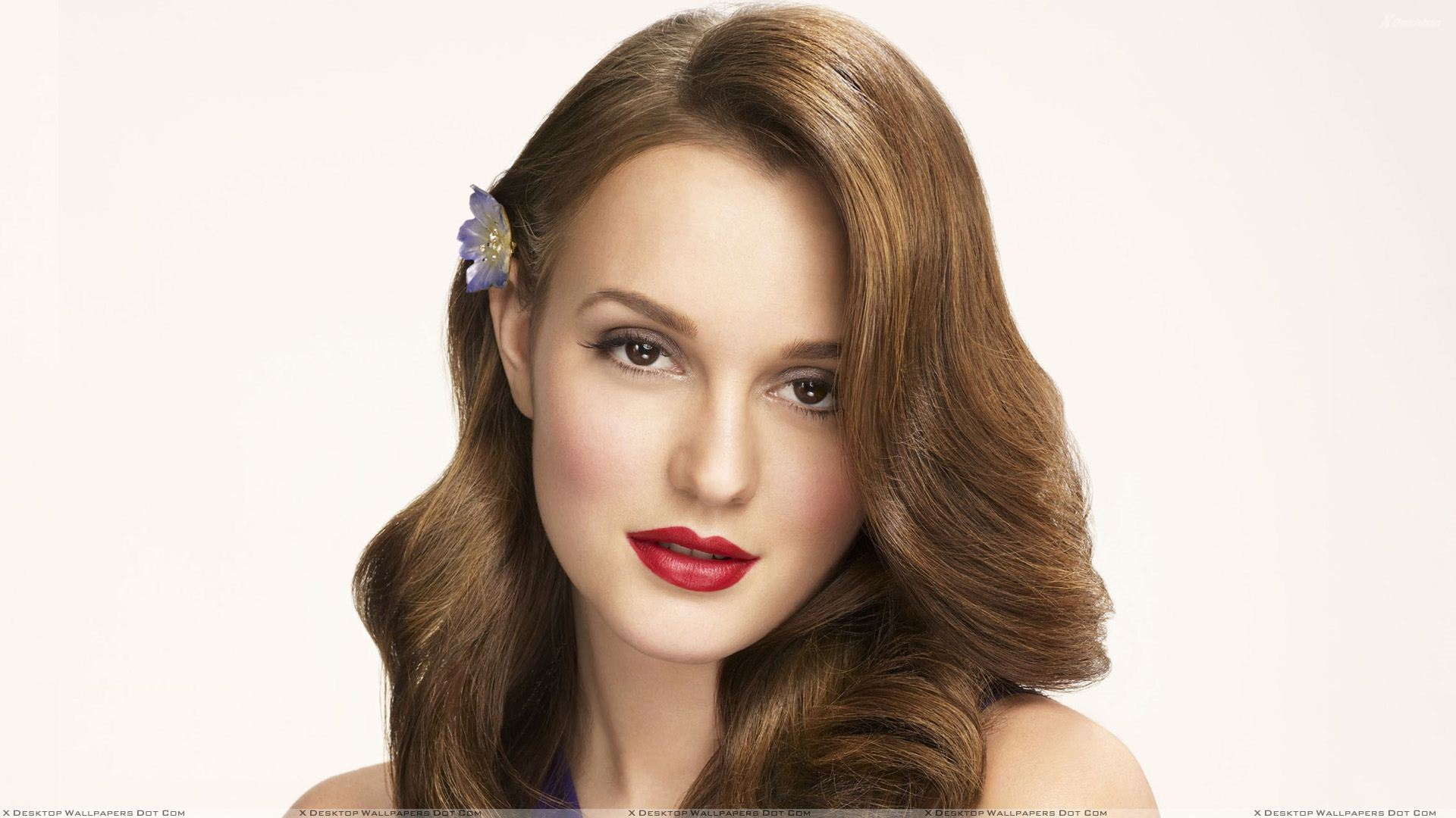 Leighton Meester make up Red Lipstick Photoshoot